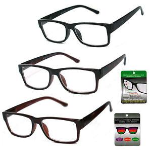 897dd61cf4c Square Frame Multi Focus + Reading Glasses 3 Powers in 1 Reader ...