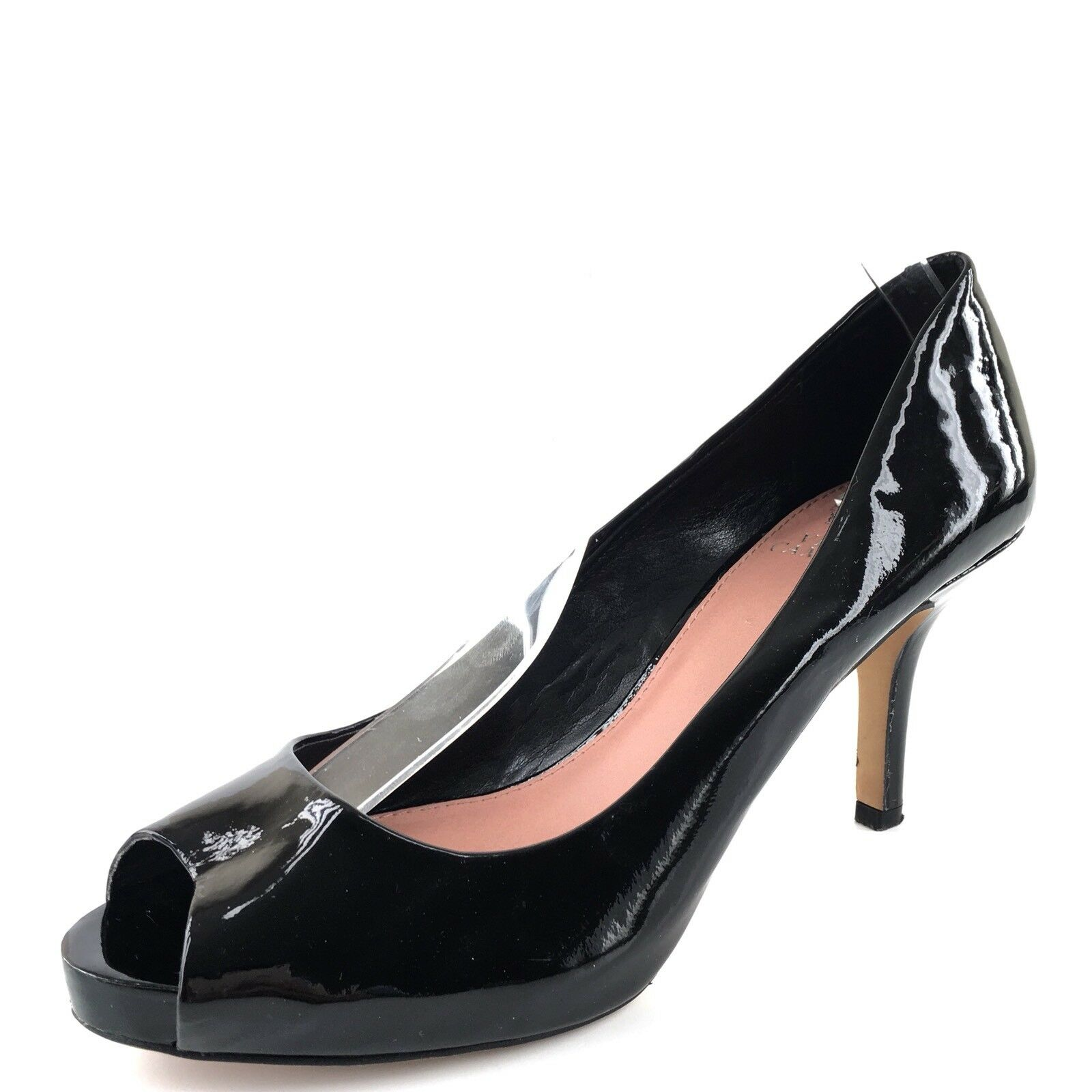 Vince Camuto Kira Black Patent Leather Open Toe Pumps Women's Size 8.5 M*