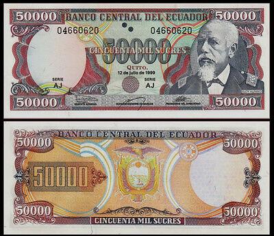 Pick 130 12-7-1999 130? Ecuador 50000 UNC /> Last Pre-USD$ Sucres 50,000