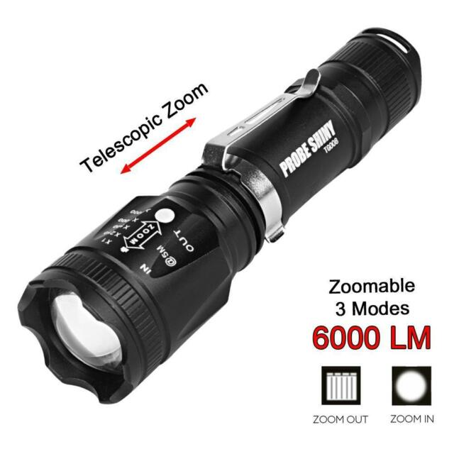 Ultra Bright 4 Modes Tactical Flashlight 6000Lm T6 LED Torch Light Zoom Lamp  TR