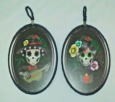 """9.5"""" Height Set of Two Day of The Dead Skeleton Mariachi Couple Wall Plaque"""