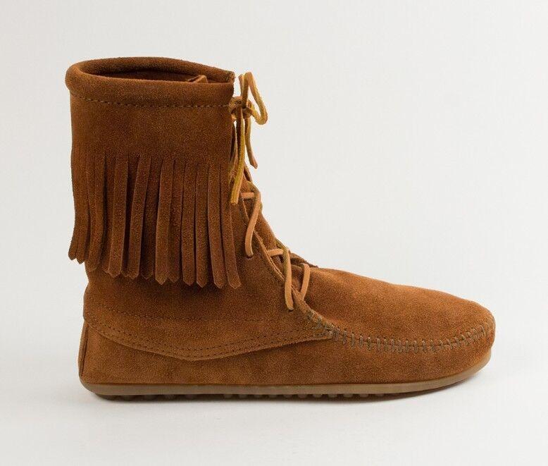 Minnetonka Tramper Boots 422 Women'S Ankle High Boot Hardsole Brown Suede