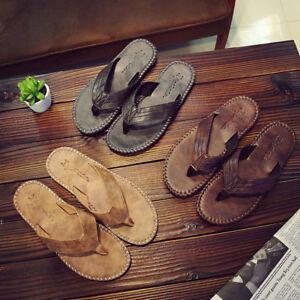 62956100b0eff1 Men s Flip Flops PU Leather Slippers Men Summer Fashion Beach ...