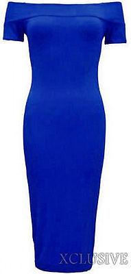 New Womens Plus Size Off Shoulder Long Bodycon Stretch Midi Dress