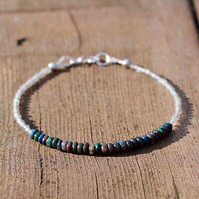 Labradorite Peruvian Blue Opal and Silver Bracelet 5mm October Opal Birthstone
