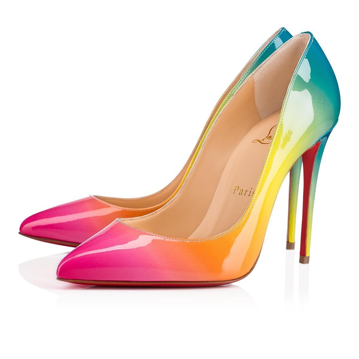 NIB Christian Louboutin Pigalle Follies 100 Sunrise Pink Patent Heel Pump 35