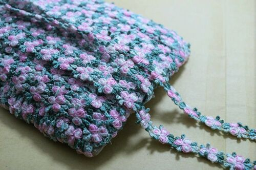 price for 1 yard Pink and Green Color Venise Lace Trim