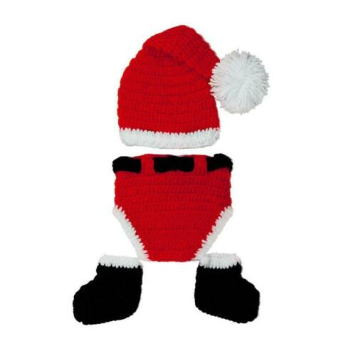 Newborn Baby Girl Boys Knit Hat Christmas Pant Santa Outfits Costume Photo Prop
