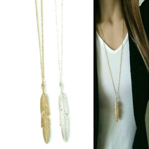 Women Gift Feather Pendant Long Chain Necklace Sweater Statement Vintage Jewelry