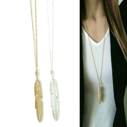 FR/_Femme plume pendentif longue chaîne collier pulls vintage  DI