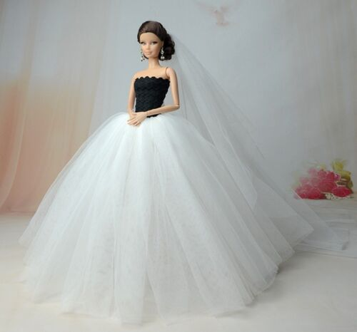 "Veil 1:6 Doll Accessories White Wedding Dress For 11.5/"" Doll 1//6 Party Dresses"