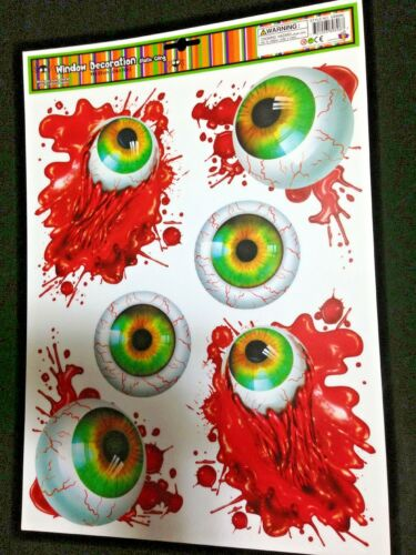Haunted House Horror Prop CREEPY CLING Halloween Decoration-BLOODY EYES EYEBALLS