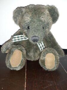 Russ-6-034-Sage-Green-amp-Brown-Bear-With-Gingham-Ribbon-034-Winslow-034-EUC
