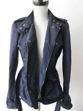 BURBERRY LONDON NAVY SINGLE BREASTED PEPLUM SHORT TRENCH COAT JACKET US 4 UK 6