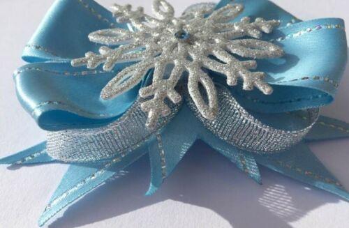 Frozen Elsa Blue Silver Hair Bow Satin Ribbon Snowflake Alligator Clip