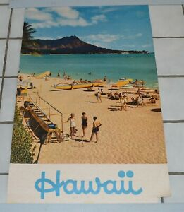 Large-Vintage-1960-039-s-era-Hawaii-Travel-Poster-Beach-Outrigger-canoe