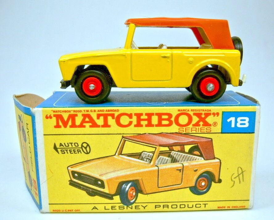 Matchbox RW 18e FIELD CAR jaune noire plaque de sol Top dans  F  BOX