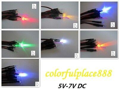50pcs 5mm Orange Diffused 5V 6V 7V DC Bright Pre-Wired LED Leds Light 20CM New