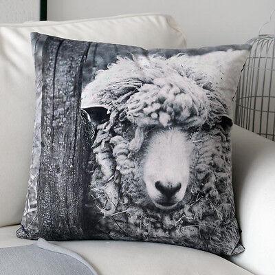 "Black & White Vivid Sheep Animal Velvet Square Pillow Case Cushion Cover 18""x18"""