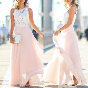 Boho-Formal-Long-Women-Lace-Prom-Evening-Party-Cocktail-Bridesmaid-Wedding-Dress