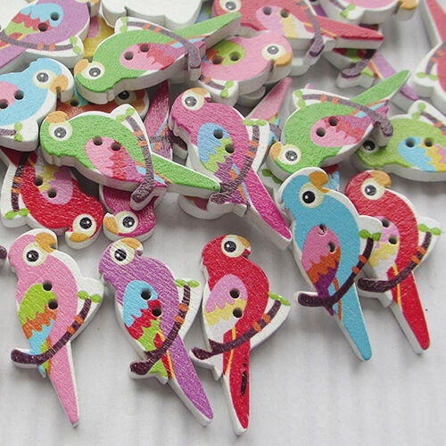 New 10/50/100/500pcs Birds On Branches Wood Buttons 35mm Sewing Craft Mix Lots