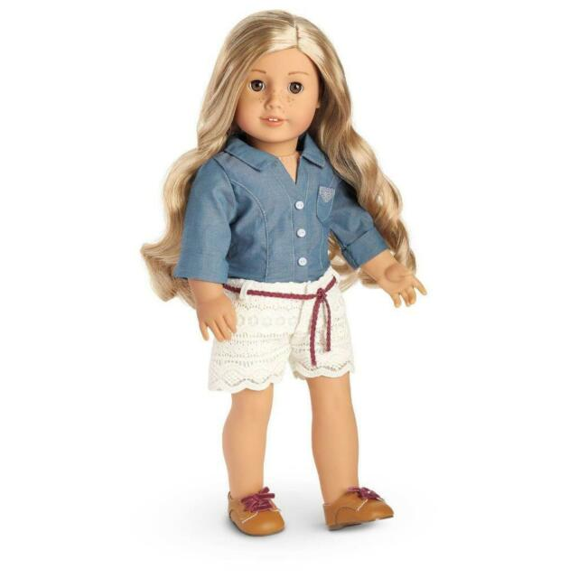 American Girl Tenney Picnic Outfit Chambray Shirt Shorts Shoes 3pc
