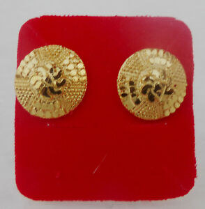 Ethnic-Indian-Women-Fashion-Jewelry-Party-Wear-Golden-Round-Stud-Earrings-Set