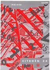 Citroen ZX Prices & Optional Extras Mid-Late 1991 UK Market Leaflet Brochure