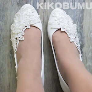 948325721c7 Details about White Ivory Wedding shoes Lace Butterfly Bridal Bridesmaid  Flat High Low Heels