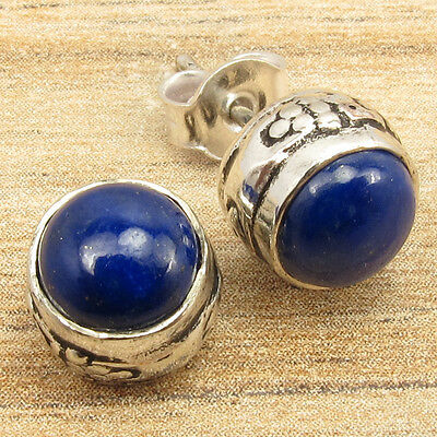 LAPIS LAZULI Gems Vintage Art Little Piercing Stud Earrings 925 Silver Plated