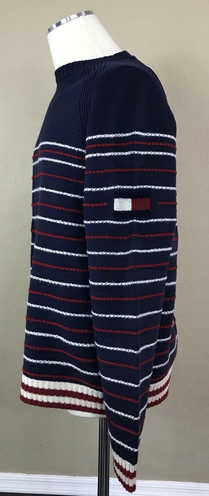 Rare Tommy Hilfiger Flag Logo Knit Sweater LambsWool Detailing Striped L