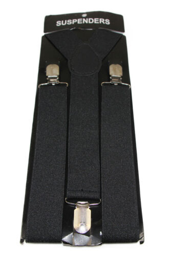 MENS WIDE SUSPENDERS BRACES STRONG ADJUSTABLE WEDDING PARTY BLACK GREEN BLUE RED