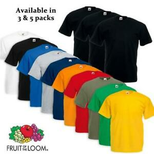 3-amp-5-Pack-Mens-Fruit-Of-The-Loom-100-Cotton-Plain-Tee-Shirts-T-Shirt-T-Shirts