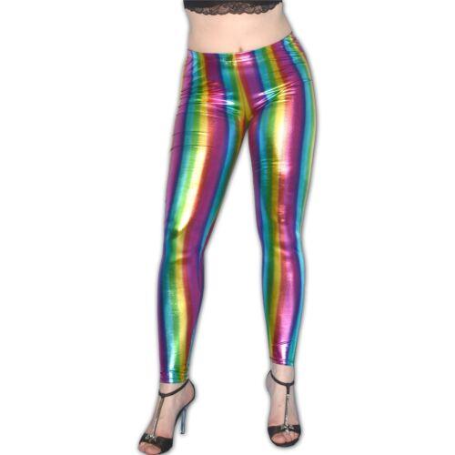 XS REGENBOGEN LACK Leggins* Gr XXS  wetlook Leggings* Disko neon Hose weich