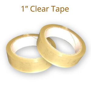 """CLEAR TAPE 4 ROLLS PARCEL PACKING SELLOTAPE 1"""" 24MM X 66M CELLOTAPE PACKAGING"""