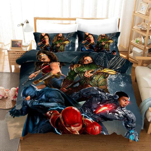 3D Aquaman Flash Hero Duvet Cover Bedding Set Pillowcase Quilt//Comforter Cover