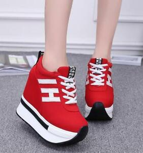 Ladies-High-Wedge-Heel-Lace-Up-spring-Sneakers-Trainers-Creeper-Platform-Shoes