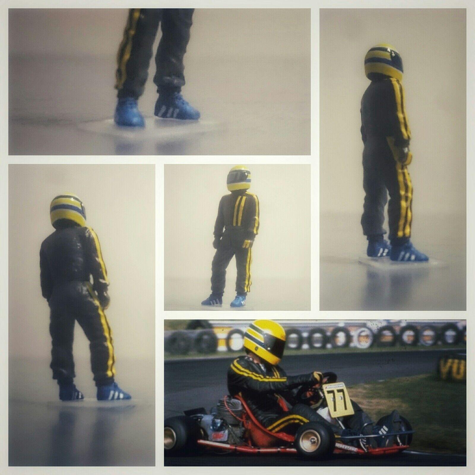 Ayrton SENNA Karting 70's figurine  pilote diorama 1 43 F1 driver figure  branché