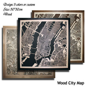 Wood-City-Map-NEW-YORK-USA-Decor-Picture-Town-Village-Laser-Cut-Wall-Art-50x50