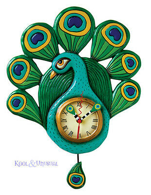 Elegant Green and Blue PEACOCK Designer Wall Clock by Allen Designs