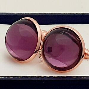 Vintage-1970s-Amethyst-Purple-Glass-Large-Round-Rose-Goldtone-Cufflinks