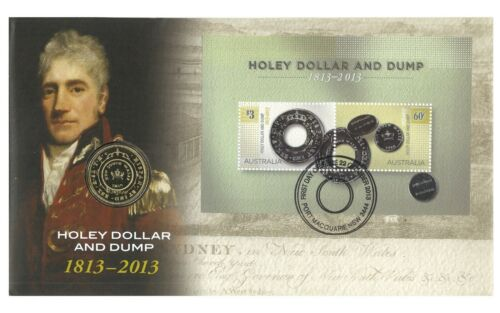 Australia 2013 Holey Dollar /& Dump Bicentenary $1 UNC Coin /& Stamp PNC Cover