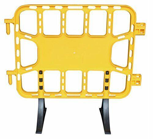 Valla obra reforzada 1m plástico peatonal en Color amarillo, patas extraibles