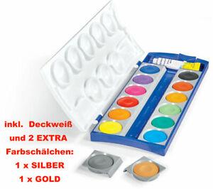 Pelikan Deckfarbkasten K12 12+2 Farben Gold+Silber Wasserfarbkasten Wasserfarben