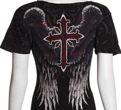 Archaic AFFLICTION Women T-Shirt WINGED GLORY Cross Tattoo Biker Sinful S-XL $36