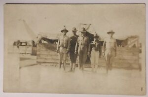 Early-Real-Photo-Postcard-of-Five-Military-Men