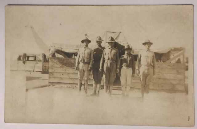 Early Real Photo Postcard of Five Military Men