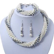 Blanco Nupcial, gris metálico cristal de Perla Bead Multi Strand simulado NECKACE, Bra