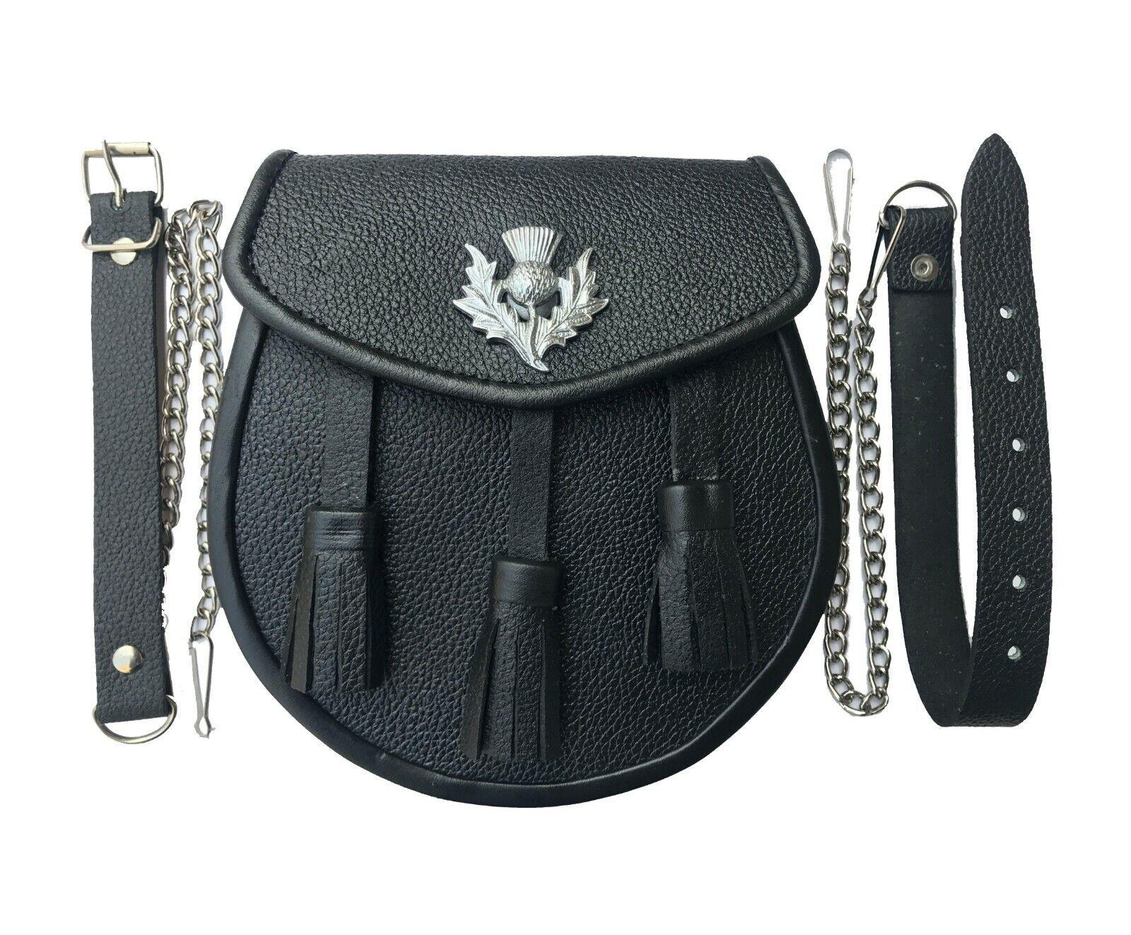 Scottish Kilt Sporran, Real Black Cowhide Leather + Belt Set