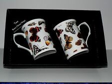 Butterfly mug gift set 2x bone china mugs with butterfly print in black gift box